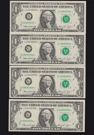 (10) Consecutive 1974 $1 STAR Federal Reserve Notes