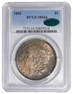 1892 $1 Morgan Silver Dollar PCGS MS64 CAC