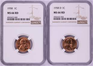Lot of 1958 & 1958-D Lincoln Wheat Cent Coins NGC