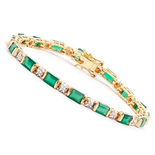 Plated 18KT Yellow Gold 10.00ctw Green Agate and