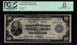 1918 $10 St Louis Federal Reserve Bank Note PCGS 12