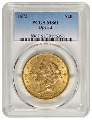 1873 $20 Double Eagle Liberty Gold Coin PCGS MS61