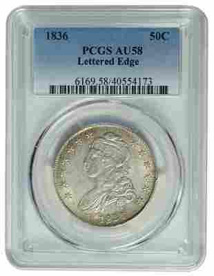 1836 Capped Bust Half Dollar PCGS AU58