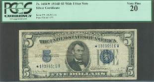 1934D $5 STAR Silver Certificate PCGS 20