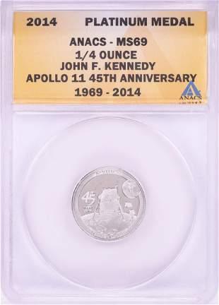 2014 Proof 1/4 oz Platinum JFK Apollo 11 Anniversary