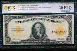 1922 $10 Gold Certificate PCGS 30PPQ