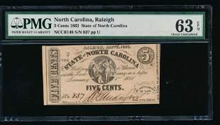 5 Cent 1863 Raleigh NC Obsolete PMG 63EPQ