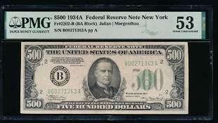 1934A $500 New York FRN PMG 53
