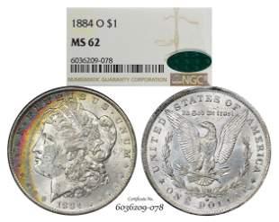 1884-O $1 Morgan Silver Dollar Coin NGC MS62 CAC