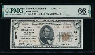 1929 $5 Oakland MD National PMG 66EPQ