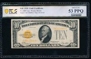 1928 $10 Gold Certificate PCGS 53PPQ