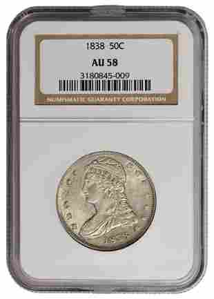 1838 Capped Bust Half Dollar NGC AU58