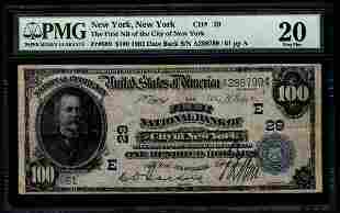 1902 $100 New York National Bank Note PMG 20