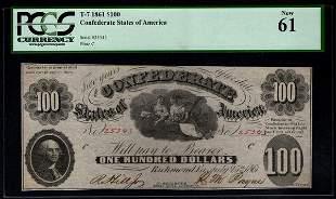 1861 $100 Confederate States of America Note PCGS 61