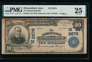 1902 $10 Shenandoah National Bank Note PMG 25