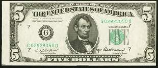 1950B $5 Chicago Federal Reserve Note