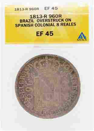 1813-R 9602R Brazil Overstruck on Spanish Colonial 8