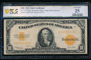 1922 $10 Gold Certificate PCGS 25