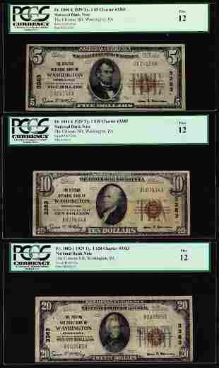 1929 $5/10/20 Citizens NB Washington, PA CH# 3383