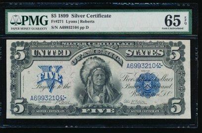 1899 $5 Chief Silver Certificate PMG 65EPQ