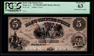 1800's $5 Rome GA Obsolete Note PCGS 63