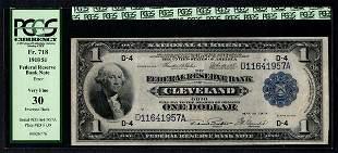 1918 $1 ERROR Inverted Back Cleveland FRBN PCGS 30