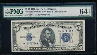1934D $5 Silver Certificate Star Note PMG 64EPQ