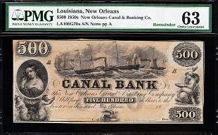 1850s $500 New Orleans Canal Bank PMG 63