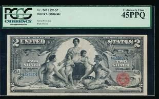 1896 $2 Educational Silver Certificate PCGS 45PPQ