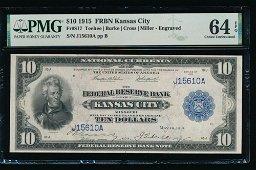 1915 $10 Kansas City FRBN PMG 64EPQ