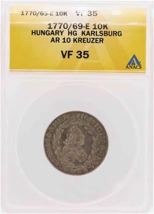 1770/69-E Hungary HG Karlsburg AR 10 Kreuzer Coin ANACS