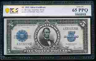 1923 $5 Lincoln Porthole Silver Cert PCGS 65PPQ