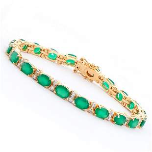 Plated 18KT Yellow Gold 12.50ctw Green Agate and