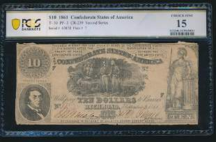 1861 $10 Confederate States of America T-30 PCGS 15