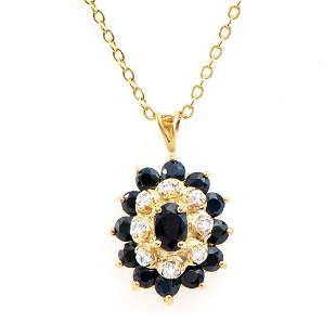 Plated 18KT Yellow Gold 2.60ctw Black Sapphire and