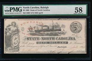 1862 $5 Raleigh NC Obsolete Note PMG 58