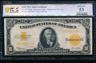 1922 $10 Gold Certificate PCGS 53