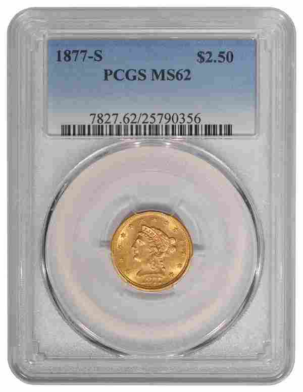 1877-S $2.5 Liberty Gold Coin PCGS MS62