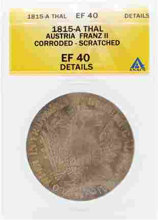 1815-A Thal Autria Franz II Corroded Scratched Coin