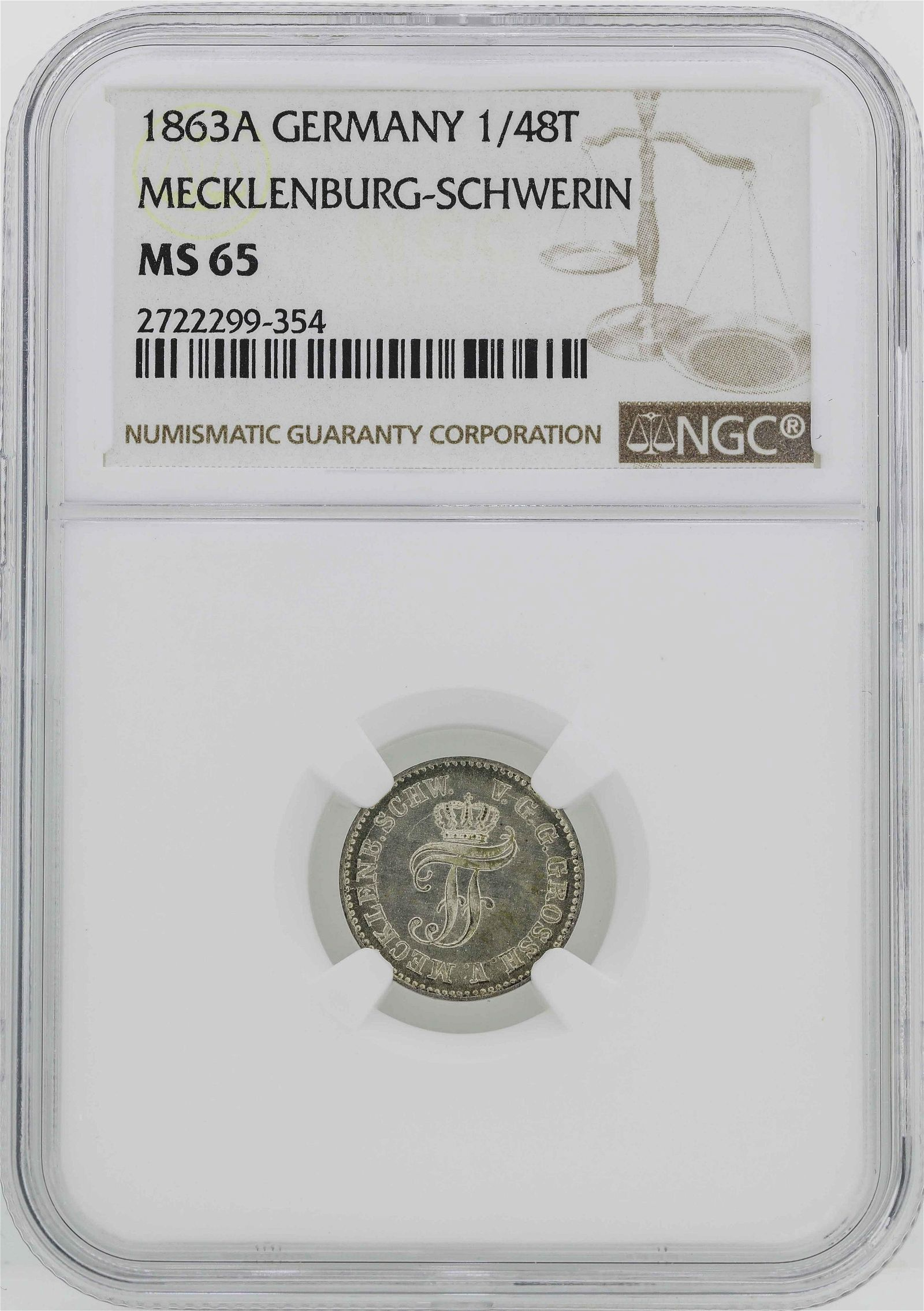 1863-A Germany Friedrich Franz II 1/48 Thaler Coin NGC