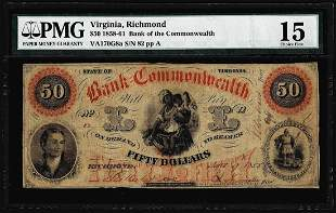 1858 $50 Bank of the Commonwealth Richmond, VA Obsolete