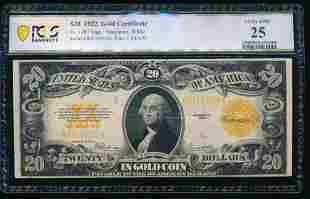 1922 $20 Gold Certificate PCGS 25