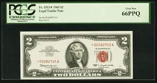 1963 $2 STAR Legal Tender Note PCGS 66PPQ