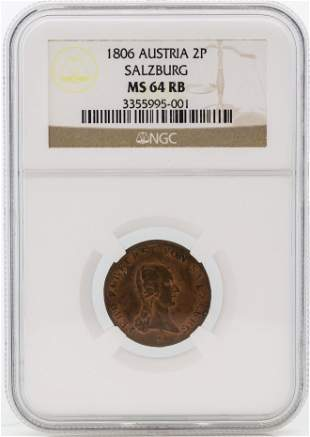 1806 Austria 2 Pfennig Salzburg Coin NGC MS64 RB