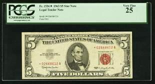 1963 $5 STAR Legal Tender Note PCGS 25