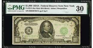1934A $1000 New York Mule FRN PMG 30