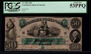 1861 $50 T-6 Confederate States of America PCGS 53PPQ