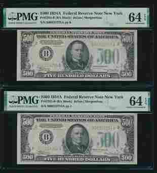 1934A $500 New York Consecutive FRN's PMG 64EPQ