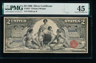1896 $2 Educational Silver Certificate PMG 45