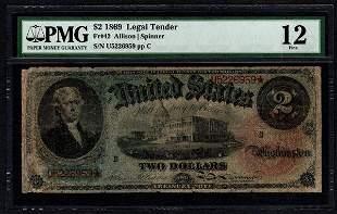 1869 $2 Rainbow Legal Tender Note PMG 12